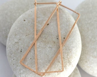 Large rectangle hoop earrings hammered in 14K rose gold or rose gold fill