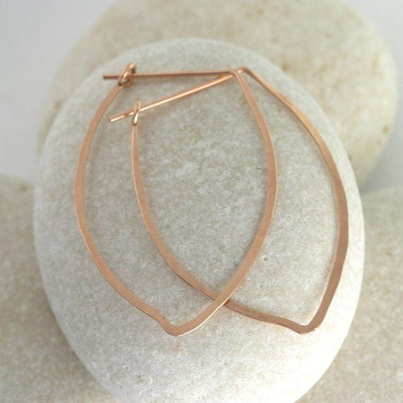 Hammered petal earrings, rose or yellow gold fill - Ophelia Earring Collection