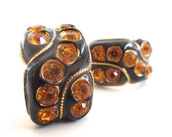 Vintage Blanca Black Enamel and Orange Rhinestone Clip on Earrings