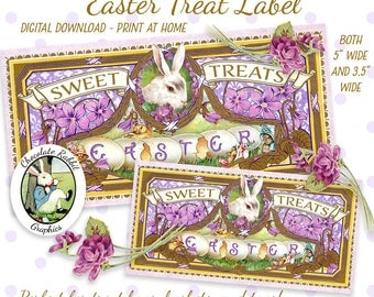 Easter Basket Treat Candy Label Tag Digital Download Printable Graphic Card Tag Images Clipart Scrapbook Fabric Transfer Decal Collage Sheet