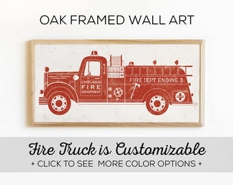 Fire Truck Bedroom Decor - Our Custom Fire Engine Wall Art is Perfect for Little Boys Rooms - White Oak Frame Included!