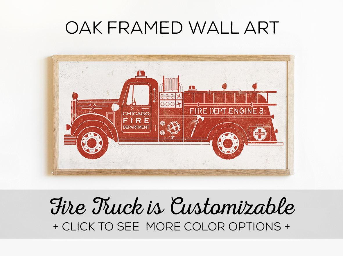 Fire truck bedroom decor our custom fire engine wall art is for Fire truck bedroom ideas