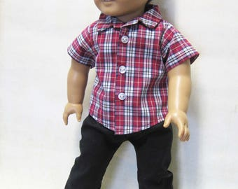 """Red Plaid Sport Shirt with Black Pants for Logan and other 18"""" Boy Dolls"""