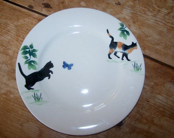 Dinner Plate, Baughan Pottery, Cat Plate, Jane Baughan, Black Cat, Blue Butterfly, Calico Cat, Stephen Baughan, Vintage, Made in England