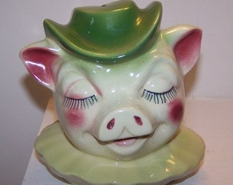 Winnie the Pig, Bank Head, Cookie Jar, Shawnee Pottery,