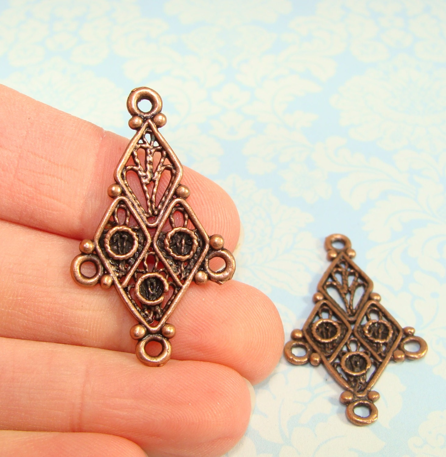 4 Chandelier Earring Parts Charms Components 2 PAIR Bronze Copper ...