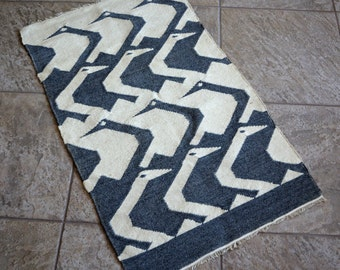 RESERVED - Vintage Woven Wool Bird Rug Wall Hanging South American Peru Ecuador Gray Ivory White