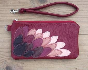 SALE red leather wallet wristlet iphone 6, 7, 6,7  plus   gadget  bag , bird wing wristlet winter fashion evening bag clutch  fo
