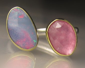 Boulder Opal and Rose Cut Pink Sapphire Ring, Open Stone Ring, Open Face Ring, 18k Gold and Sterling Silver, - size 7.75