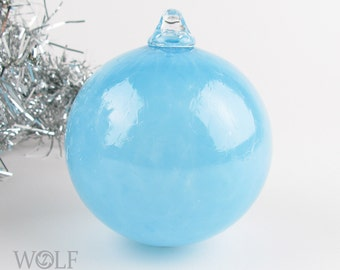 Blown Glass Christmas Tree Holiday Ornament Bauble Bright Blue