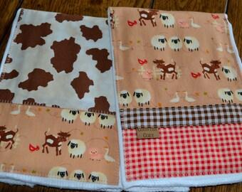 Western Cowgirl/Cowboy Baby Burp Cloths Set of 2 Farm Animals