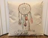 Dream Big Little One Pillow. Dream catcher pillow. Nursery Pillow. Baby Decor. Dream Catcher Pillow. Baby Linen Pillow. Baby Gift. Christmas