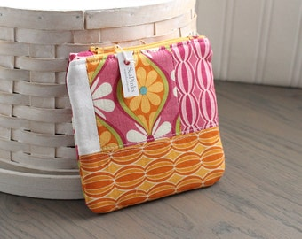Pink and Orange  Scrappy Floral Coin Purse Floral Change Purse Colorful Patchwork Gift Card Holder