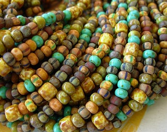 """Picasso Seed Beads, 6/0 Czech Seed Beads, Aged Picasso- Earthy Matte Striped Mix (1/19"""") #614"""