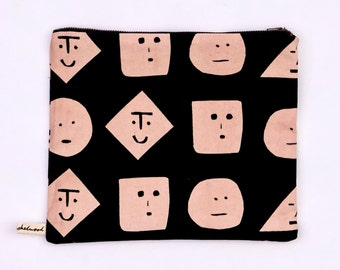 Faces Screen Printed Cotton Canvas Purse Pouch