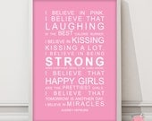 Typography print subway art Audrey Hepburn I Believe in Miracles