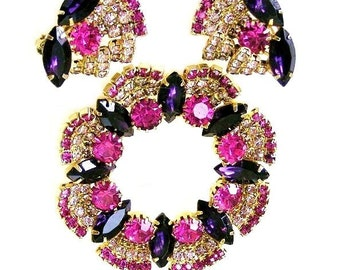 Marvelous Fuchsia Lilac and Amethyst Brooch with Matching Earrings