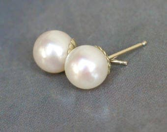 14k Pearl Studs | 8mm White Freshwater Pearls | 14kt Yellow Gold Fluted Studs | June Birthstone | Wedding | Everyday Pearl | Ready to Ship
