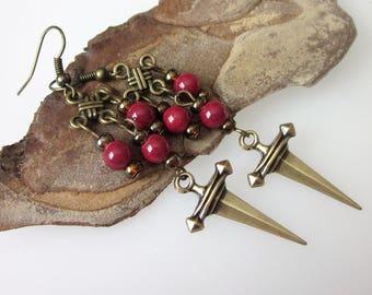 Bohemian Brass Earrings, Antiqued Gold Dagger Earrings, Boho Weapon Earrings, Gothic Sword Earrings, Celtic Jewelry, Bohemian Chandelier