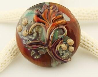 Lampwork Glass Bead,  Floral Lentil Focal, Brown, Green, Orange  'Autumn Bouquet' SRA