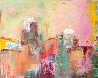 Fine Art Print, Landscape Print, Giclee Art, yellow pink green, turquoise, girl, abstract landscape, home decor, wall art, by Ana Gonzalez