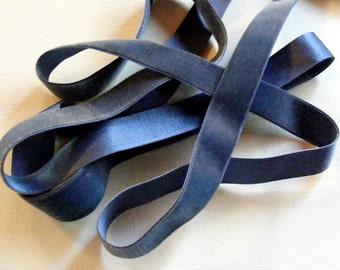 Vintage 1930's Silk Charmeuse Velvet Ribbon 7/8 Inch Denim Blue