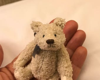 Miniature Hand Sewn 3in. Cream Terry Cloth Teddy Bear