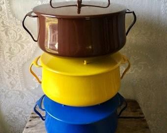 Vintage Dansk Dutch Oven Kobenstyle Enamel Yellow IHQ Enameled Jens Quistgaard 6 QT NM