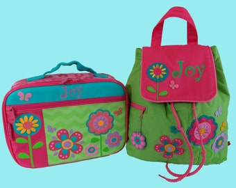 Child's Personalized Newest Stephen JosephFLOWERS Backpack and Lunchbox School Set-Monogramming Included