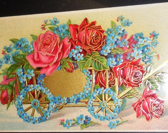 RPPC  Embossed  Floral And Gold Made In Germany  Vintage RPPC 1900's Free Shipping