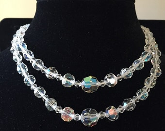 Vintage Aurora Borealis graduated faceted crystal necklace double stranded choker