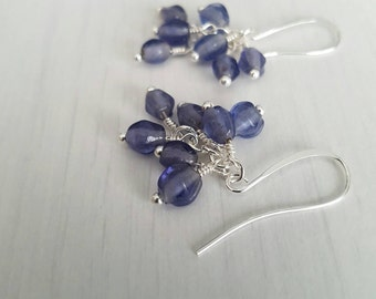 Vintage  glass beads, wire wrapped, silver plated  earrings.