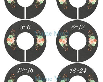 6  FULLY ASSEMBLED Closet Dividers Organizers, Baby Girl Shower Gift,  Nursery Decor, Floral Coral Mint Peach Light Teal   Baby Clothes