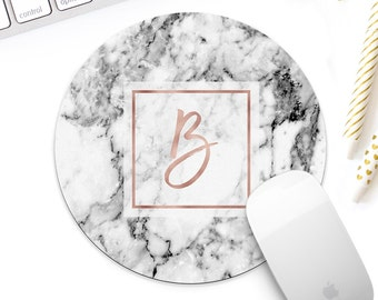 Rose gold marble Monogram mouse pad for her, white marble mouse pad, rose gold desk accessories, rose gold decor, gold desk accessories