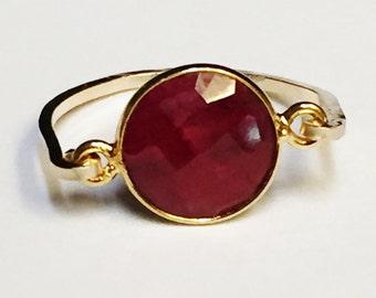 Ruby  July Birthstone Ring  14K Gold Filled Ring  Ruby Ring