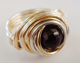 January Birthstone Ring  Garnet Ring  Garnet Sterling Silver and 14K Gold Filled Ring   Red Garnet Ring   January Birthday