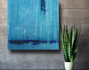 Home Decor Art Painting ORIGINAL Painting Free Shipping Acrylic Abstract Coastal Beachy Large Wall Art Coastal  modern Turquoise blue