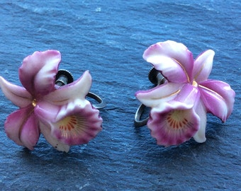 Vintage porcelain silver orchid earrings hand painted