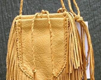 Native Deerskin Buckskin Saddle Leather Medicine Bag Fringe Keepsake Amulet Pouch