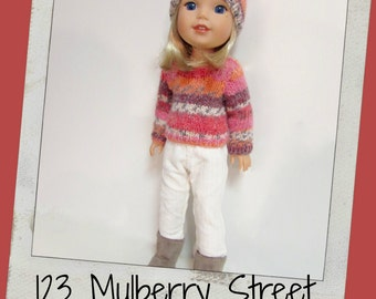 Doll Clothes fit dolls like Wellie Wishers/H4H Dolls-Handknit Sweater, Hat and Cords 123 Mulberry Street