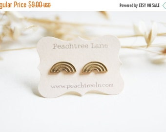 CYBER MONDAY SALE Rainbow Brass Earrings << Bridal Party Gifts >> Gold Rainbow Earrings << Bridesmaid Earrings