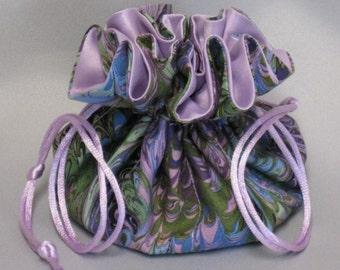 Jewelry Travel Tote---Drawstring Organizer Pouch---Beautiful Multi Color Abstract Design---Medium Size