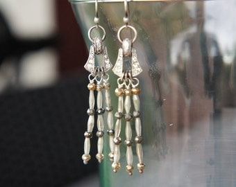 Antique Assemblage Earrings with Mercury Glass Dangles and Rhinestones