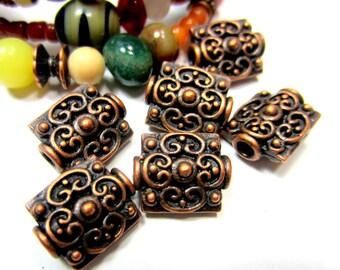 8 Antique copper beadsTibetan style ethnic boho chic 12mm x 14mm OB-(W1)