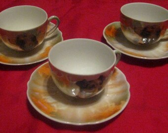 Antique Bavarian Toy Dishes, Dogs and Horses, Three Cups and Saucers