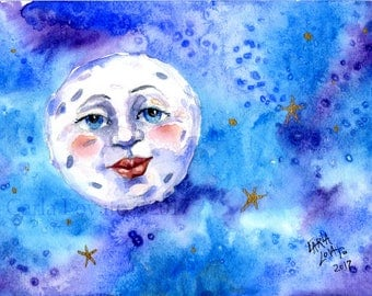 Moon Painting, moon Face, original painting, watercolor, Wall art, blue moon, man in the moon, child decor, baby decor, celestial art