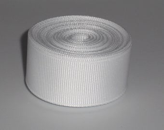 White 7/8 inch Solid Grosgrain Ribbon 10 yards
