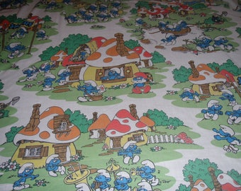 Vintage Smurf FLAT TWIN Sheet - Factory Second Reclaimed Bed Linens