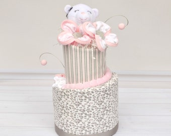 Pink and Gray Baby Gift, Gray and Pink Diaper Cake for Baby Shower, Baby Shower Gift, Bear Diaper Cake, Pink Shower Decor, Girl Diaper Cake