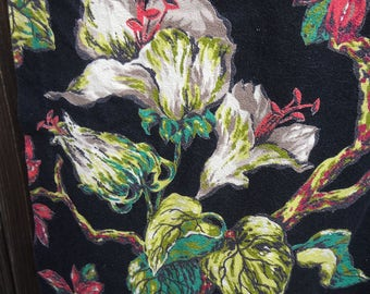 "Vintage Barkcloth Drape / VAT Print / ""Sharon"" Barkcloth Print / Black Background"
